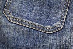 Zbliżenie tekstura plecy kieszeni błękitni drelichowi cajgi zdjęcie royalty free