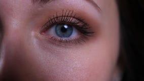 Zbliżenie twarzy przyrodni portret potomstwo brunetki dosyć caucasian kobiety oko patrzeje prosto przy kamerą zbiory