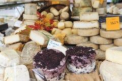 Zbliżenie Włoski ser z względnymi metkami przy Moncalvo trufli jarmarkiem Obrazy Stock