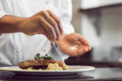 Zbliżenie w połowie sekcja szefa kuchni kładzenia sól obraz stock
