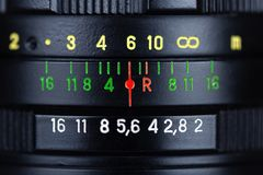 Zbliżenie widok czarny retro fotografia obiektyw fotografia stock