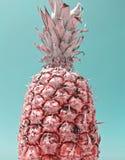 Zbliżenie widok dojrzały ananas na pastel zieleni tle zdjęcie royalty free