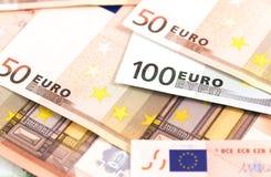 Zbliżenie widok euro banknoty obraz royalty free
