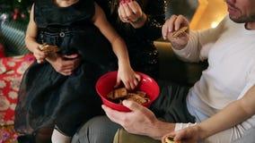 Zbliżenie widok siedzi choinką i je czekoladowych ciastka szczęśliwy rodzina składająca się z czterech osób Śliczna matka, ojciec zdjęcie wideo