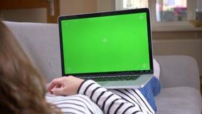 Zbli?enie widoku tylny kr?tkop?d ?e?ska dopatrywanie reklama na laptopie z zielonego chroma parawanowy k?a?? na le?ance zdjęcie wideo