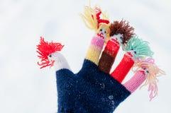 Zbliżenie woolen trykotowe rękawiczki Obrazy Royalty Free
