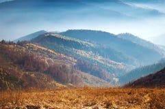 Zbliżenie wzgórza dymiący pasmo górskie zakrywający w białej mgle Zdjęcia Stock