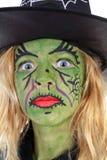 zbliżenia zielona Halloween portreta czarownica Zdjęcie Royalty Free