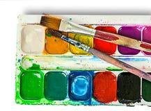 Zbliżenie akwarela maluje set i szczotkuje Obraz Stock