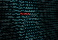 Zbliżenie binarny kod z wpisowego ` wannacry `, Zdjęcie Royalty Free