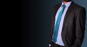 Zbliżenie biznesmena kostium na sztandaru tle Zdjęcie Stock