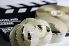 Zbliżenie cewa film w filmu clapper dla ekranowy pro i Zdjęcia Stock