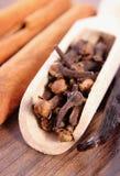 Zbliżenie cloves, fragrant wanilia i cynamon na drewnianej nawierzchniowej desce, Fotografia Stock