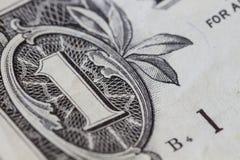zbliżenie dolar jeden Obrazy Royalty Free