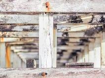 Zbliżenie drewno wzór Obok drewnianego stadium Zdjęcia Stock