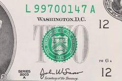Zbliżenie dwa dolarowy rachunek. Fotografia Royalty Free