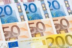 ZBLIŻENIE euro - EUROPEJSKIEGO zjednoczenia banknoty Fotografia Royalty Free
