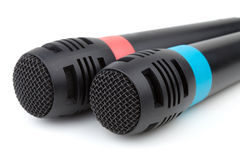 zbliżenie kablowi mikrofony dwa Zdjęcie Stock
