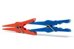 Zbliżenie kolorowi clothespins Zdjęcie Stock