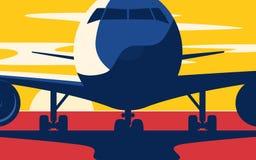 zbliżenie Mieszkanie stylowa wektorowa ilustracja samolot przy sunse ilustracja wektor