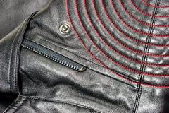 Zbliżenie naramienna skórzana kurtka zdjęcie stock
