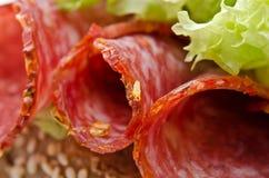 zbliżenie salami pieprzowy czerwony Fotografia Stock