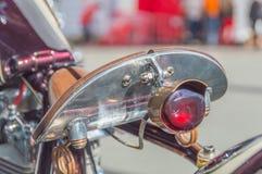Zbliżenie siedzenie i zatrzymuje motocyklu reflektor Fotografia Royalty Free