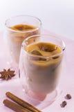 Zbliżenie spiced mleko z kawowymi kostkami lodu Zdjęcie Stock