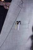Zbliżenia man& x27; s klatki piersiowej teren jest ubranym formalnego kostium i bowtie, dwa pióra wtyka out od kurtki kieszeni, m Zdjęcia Stock