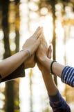 Zbliżenie cztery żeńskiej ręki łączył wpólnie wysoki w powietrzu Zdjęcie Royalty Free