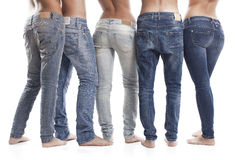 Zbliżenie kobieta I mężczyzna Jest ubranym niebieskich dżinsy Zdjęcie Stock
