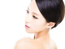 Zbliżenie młodej kobiety twarz z czystą skórą Zdjęcie Royalty Free