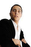 Zbliżenie portret mężczyzna robi twarzowym Fotografia Royalty Free