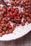 Zboże czekoladowe piłki w pucharze z mlekiem i granatowem obrazy stock