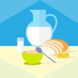 Zboże pucharu mleka chlebowy serowy zdrowy jedzenie Zdjęcie Royalty Free