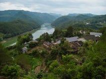 Zbocze góry chińczyka wioska Zdjęcie Stock