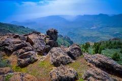Zbocze góry krajobraz na Granu Canaria wyspie, Hiszpania Zdjęcie Royalty Free