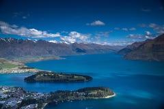 Zbocze góry widok Queenstown NZ Zdjęcie Stock