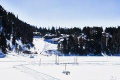 Zbocze wioska w zimie Obrazy Royalty Free
