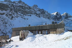 Zbojnícka chata chalet in Veľka Studená valley in High Tatras Stock Images