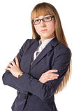 zbroi bizneswomanu falcowanie ona Zdjęcia Stock