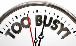 Zbyt Ruchliwie Zapracowani stresu czasu zegaru słowa Zdjęcie Stock