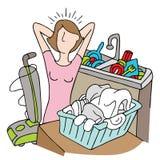 Zbyt Wiele obowiązek domowy kobieta Obraz Royalty Free