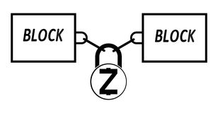 Zcash block chain technology icon,vector disign,disign concept on a white background. Interlocking the blocks with each other using the lock code Stock Photography