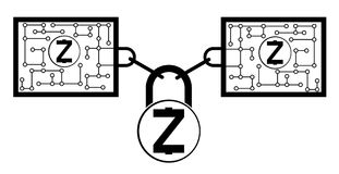 Zcash block chain technology icon,vector disign,disign concept on a white background. Interlocking the blocks with each other using the lock code Stock Photos