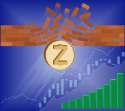 Zcash coin breaks through the wall resistance. With growth chart on a blue background , the price of crypto currency is rising , vector image design concept Stock Images