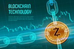 Zcash. Crypto currency. Block chain. 3D isometric Physical golden Zcash coin with wireframe chain on blue financial background. Bl. Ockchain concept. Editable royalty free illustration