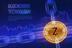 Zcash. Crypto currency. Block chain. 3D isometric Physical golden Zcash coin with wireframe chain on blue financial background. Bl. Ockchain concept. Editable stock images