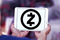 Zcash cryptocurrency logo. Logo of Zcash cryptocurrency on samsung tablet . Zcash is a cryptocurrency that grew out of the Zerocoin project, aimed at improving stock photos