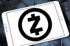 Zcash cryptocurrency logo. Logo of Zcash cryptocurrency on samsung tablet . Zcash is a cryptocurrency that grew out of the Zerocoin project, aimed at improving stock photography